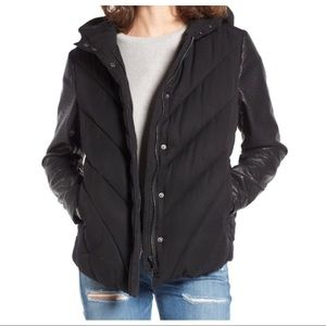 Blank NYC Faux Leather Down Quilted Puffer Coat